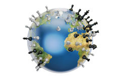 Global strategy concept, world globe with chess pieces. 3D rende Stock Photo