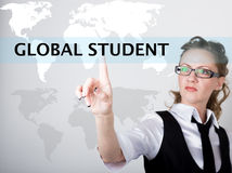 Global student written in search bar on virtual screen. Internet technologies in business and home. woman in business Stock Photo