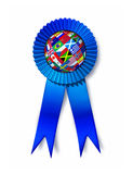 Global Success Award. With a silk blue ribbon prize and a sphere with flags from Europe Asia Africa and America as a business concept for international Royalty Free Stock Images