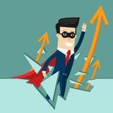 Global Success.  Business concept cartoon illustration. Global Success. Business concept. Superman business growth Stock Image
