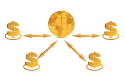 Global success concept dollar signs Royalty Free Stock Photo