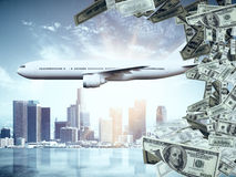 Global success concept. Side view of aiplane and money on light city background. 3D Rendering. Global success concept Stock Image