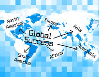 Global Success Means Winning Earth And Globe Royalty Free Stock Images