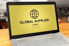 Global supplier concept on a laptop. Laptop screen with global supplier concept Royalty Free Stock Image