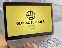 Global supplier concept on a laptop. Laptop screen with global supplier concept Royalty Free Stock Photography