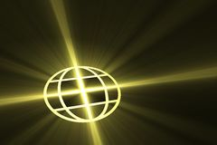 Global symbol with light flare Royalty Free Stock Image