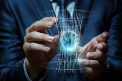 Global system of information transfer. Businessman hand shows a global system of information transfer stock photography