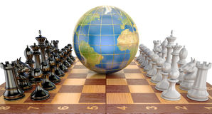 Global tactical and strategy concept, world globe with chess pie Royalty Free Stock Photos