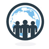 Global Team. Silhouette of 3 people standing over the globe Stock Photos