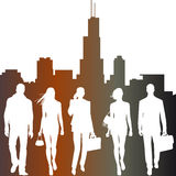 Global team, city live -  silhouettes Stock Photography