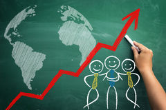 Global team success, teamwork concept with stickman sketched on Stock Photos