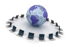 Global Teamwork. Three dimensional illustration of Laptops around the world Royalty Free Stock Photography