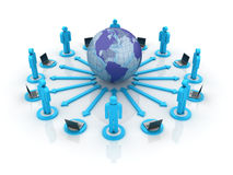 Global Teamwork. Three dimensional illustration of Teamwork around the world royalty free illustration