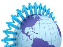 Global Teamwork. Three dimensional illustration of Teamwork around the world Stock Photo