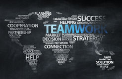 Global Teamwork Sketch On Blackboard Stock Images