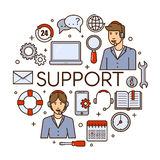 Global technical support vector concept design with customer assistance phone assistant service or call center. Global technical support vector concept design Stock Photo