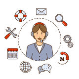 Global technical support vector concept design with woman support operator. Outline flat illustration. Troubleshooting. Global technical support vector concept Stock Photo