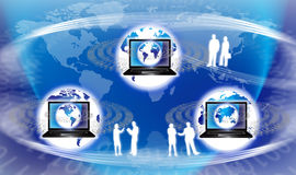 Global Technology. An image for the concept of Global Technology. This computer generated graphic shows three images of the planet earth each with digital data Stock Photography