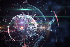 Global technology background in blue Stock Images