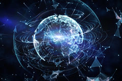 Global technology background in blue Royalty Free Stock Photos