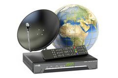 Global telecommunications concept. Digital satellite receiver wi Stock Photography
