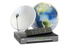 Global telecommunications concept. Digital satellite receiver wi. Th satellite dish and Earth, 3D stock illustration