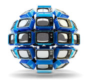 Global television, telecommunication equipment, mass media broadcasting and surveillance concept Stock Photography