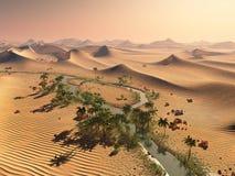 Global temperature change concept. Lonely sand ridges under striking evening sunset sky at drought desert landscape 3d Stock Image