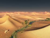 Global temperature change idea. solitary sand ridges under dramatic evening sunset sky at drought desert scenery 3d Royalty Free Stock Photography