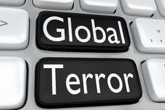 Global Terror concept. 3D illustration of computer keyboard with the print Global Terror on two adjacent black buttons Royalty Free Stock Image