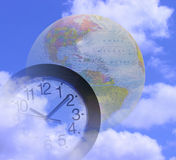 Global Time. A photo of a clock and globe Stock Images