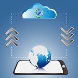Global to cloud. EPS 10 VECTOR Royalty Free Stock Photography
