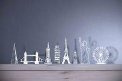 Global tourist landmarks skyline background Royalty Free Stock Photo