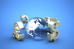 Global trade. 3d illustration of currency symbols Royalty Free Stock Photo