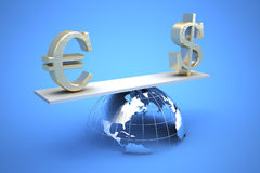 Global trade. 3d illustration of currency symbols Stock Photo