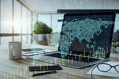 Global trade and finance concept. Close up of laptop with digital map and forex chart on office desktop. Blurry background. Global trade and finance concept vector illustration