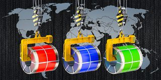 Global trade of galvanized steel sheet with polymer coating in c. Oils concept stock illustration