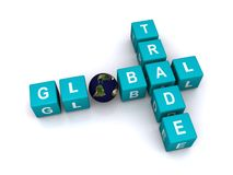 Global trade. Letters blocks in a crossword puzzle shape spelling global trade with a world globe Stock Images