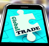 Global Trade Smartphone Means Online Worldwide Commerce Stock Image