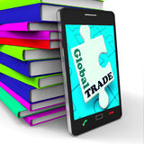 Global Trade Smartphone Means Online Worldwide Commerce Stock Photos