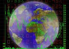Global trading. Illustration of the market chart over earth globe Stock Image