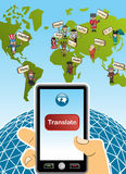 Global translation app concept. World map and hand with smartphone translation concept background. Vector illustration layered for easy editing Royalty Free Stock Photos