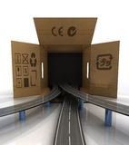 Global transport carton box highway concept Royalty Free Stock Images