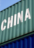 Global transportation. Container from China as a symbol of globalized transportation Royalty Free Stock Photos