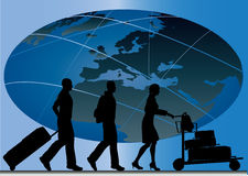 Global Travel. Illustration of silhouettes of travellers against a globe to show global travel Royalty Free Stock Image
