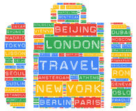 Global travel cities names destinations. Word cloud stock illustration