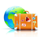 Global travel concept. Vector illustration of global travel concept with funky retro suitcase and cool glossy globe Stock Photography