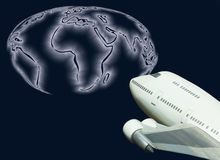 Global travel jet airline and world map Royalty Free Stock Photography