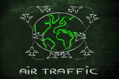 Global travels and air traffic Stock Photography