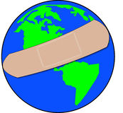 Global trouble. Earth with bandaid covering it - healing global troubles - vector royalty free illustration